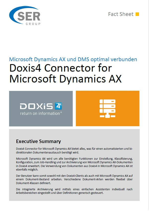 Microsoft Dynamics AX und DMS optimal verbunden - Doxis4 Connector for Microsoft Dynamics AX