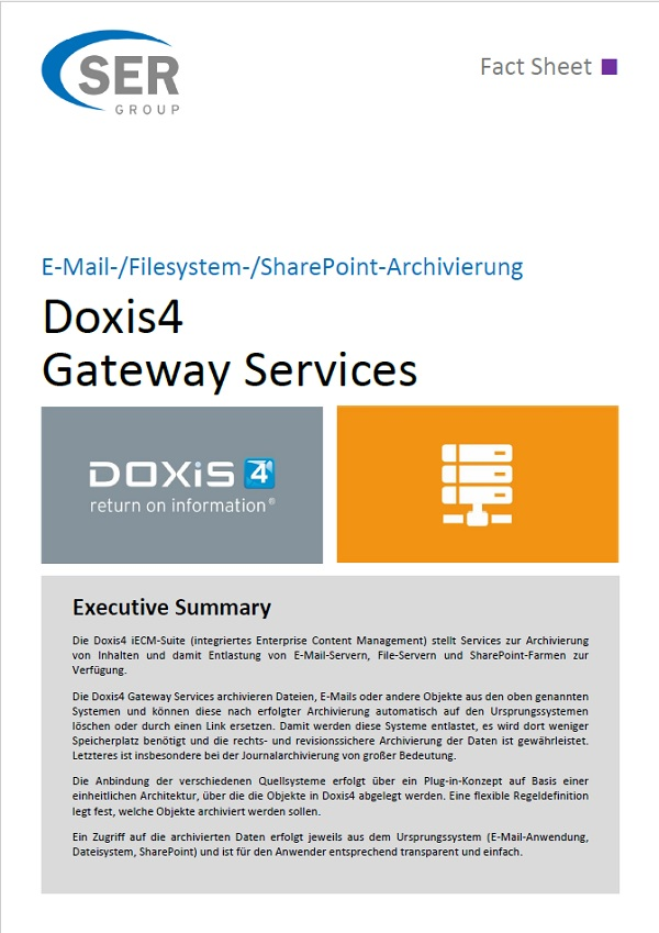 E-Mail-/Filesystem-/SharePoint-Archivierung – Doxis4 Gateway Services