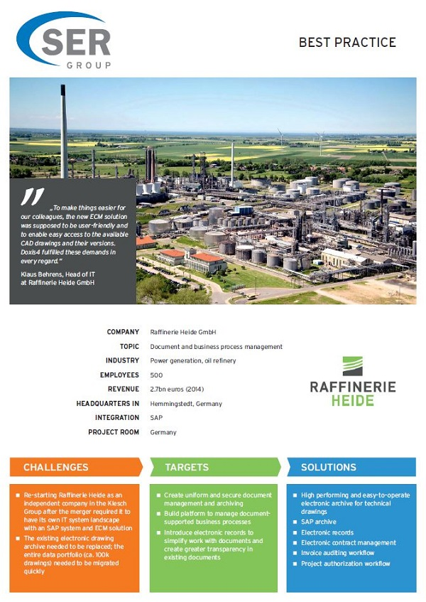 Raffinerie Heide GmbH: Document and business process management
