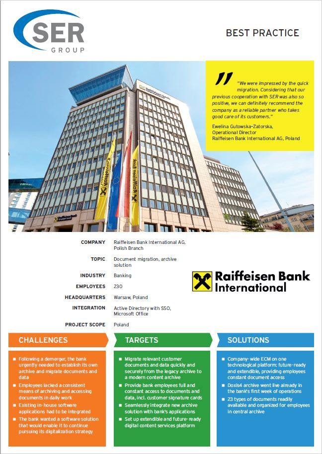 Raiffeisen Bank International AG Poland: Archive and document management with Doxis4