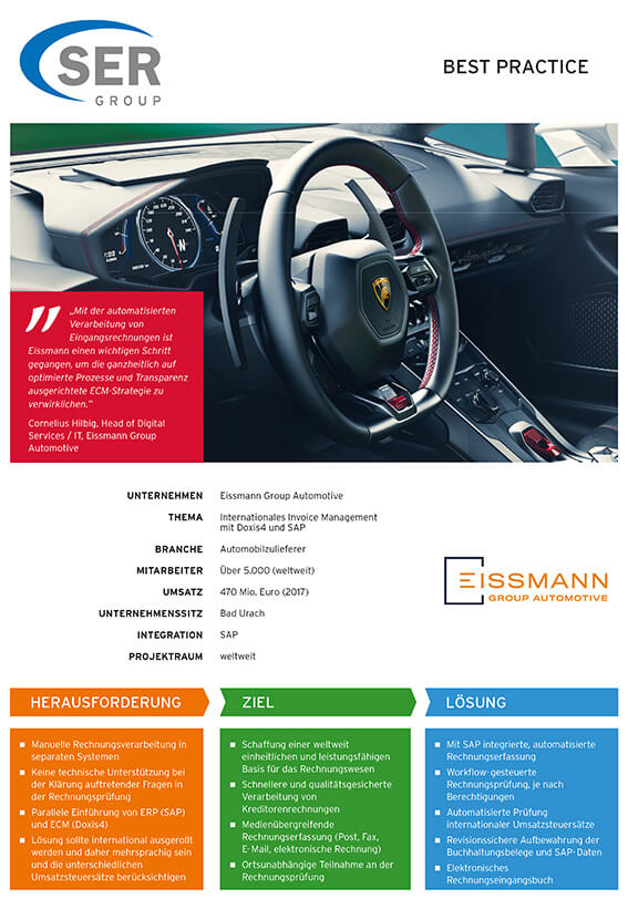 Eissmann Group Automotive: Invoice Management bei Eissmann
