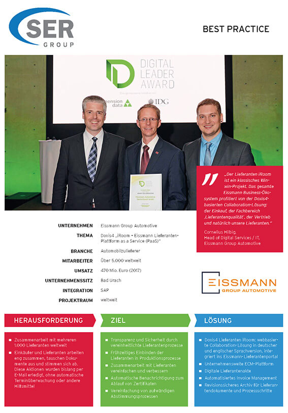 "Eissmann Group Automotive: Doxis4 ""iRoom – Eissmann Lieferanten- Plattform as a Service (PaaS)"""