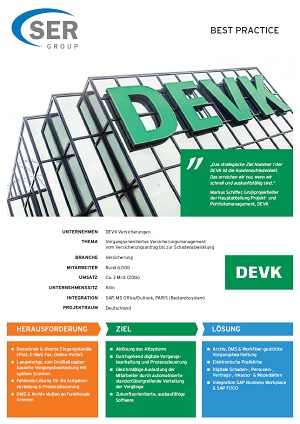 DEVK insurance: Case-oriented insurance management, from insurance applications to claims settlements